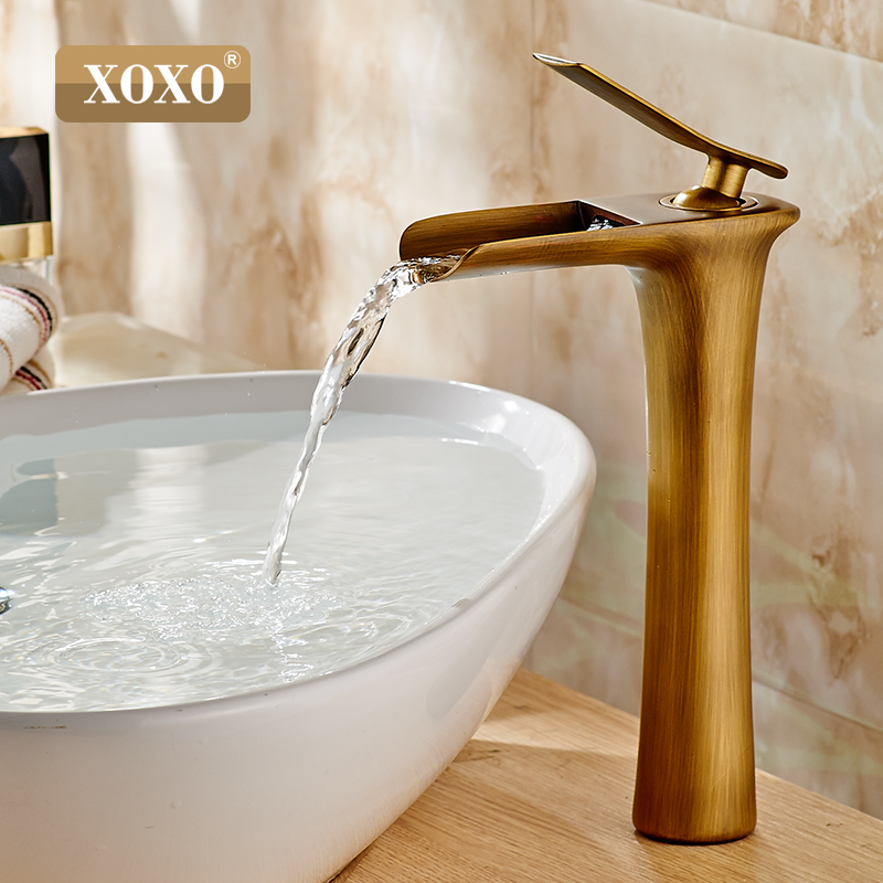 XOXO  Basin Faucets Modern White Bathroom Faucet Waterfall faucets Single Hole Cold and Hot Water Tap Basin Faucet Mixer Taps
