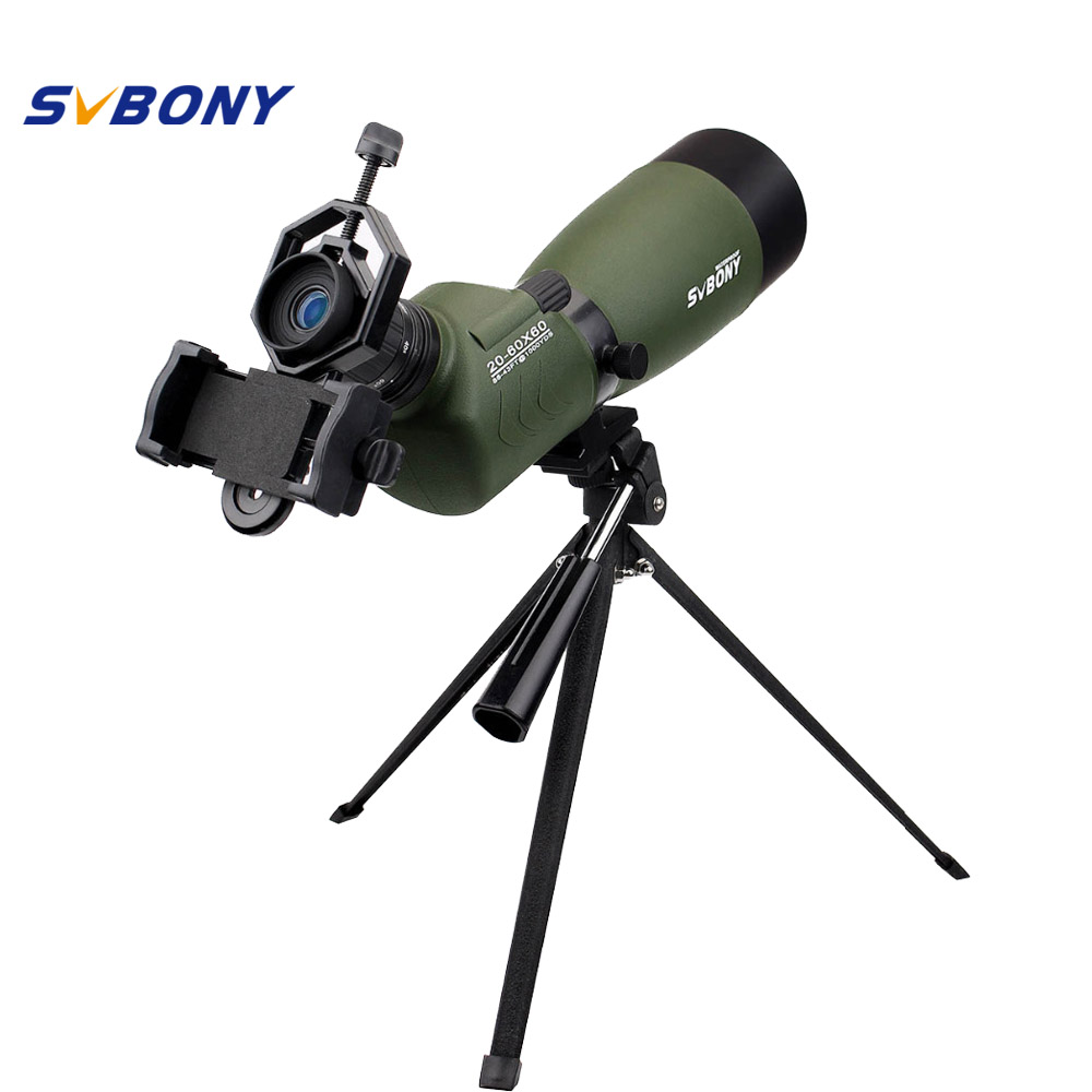 SVBONY 20-60x60/25-75x70mm Spotting Scope SV14 Zoom BAK4 45De Angled Birdwatch Telescope Monocular+Phone Adapter F9310 цена