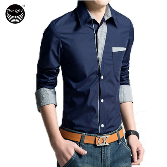 2016 Spring New Men'S Long-Sleeved Dress Shirt Placket Continental Solid, Quality Men'S Casual Slim Lapel Large Size M ~ XXXXL