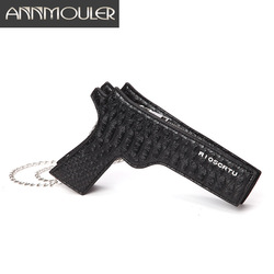 Annmouler Fashion Women Purse Pistol-shaped Bag Cool Small Messenger Bag Pu Leather Crossbody Bag Ladies Shoulder Bag