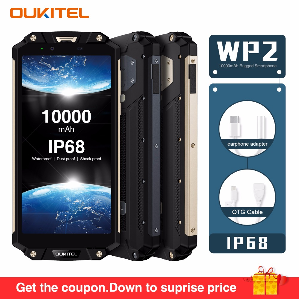 "OUKITEL WP2 IP68 Waterproof Dust Shock Proof Mobile Phone 4GB 64GB MT6750T Octa Core 6.0"" 18:9 10000mAh Fingerprint Smartphone|Cellphones| |  - title="