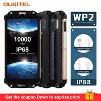 OUKITEL WP2 IP68 impermeable polvo a prueba de descargas móvil teléfono 4GB 64GB MT6750T Octa Core 6,0 18:9 10000mAh huella dactilar teléfono inteligente