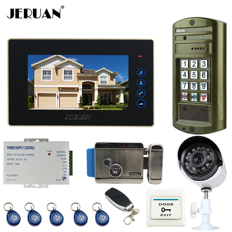JERUAN NEW 7 inch touch key Video Intercom Door Phone System kit Waterproof password keypad HD Mini Camera +Analog Camera+E-lock jeruan 8 inch tft video door phone record intercom system new rfid waterproof touch key password keypad camera 8g sd card e lock