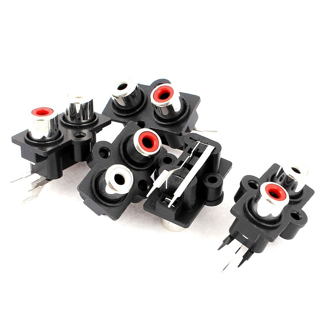 High Quality 5pcs PCB Mount 2 Position Stereo Audio Video Jack RCA Female Connector 5pcs silver plated rca female jack terminal amplifier audio connector red