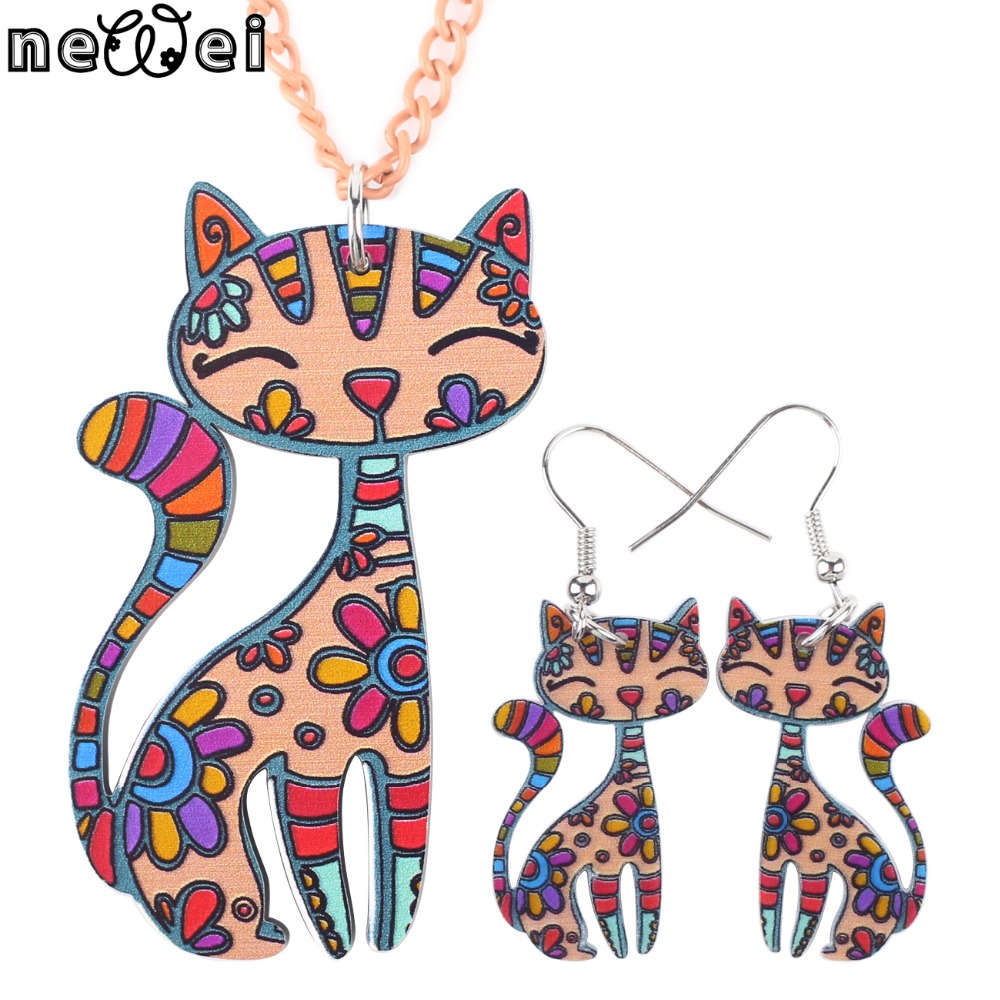 Newei Merek Set Perhiasan Cat Pendant Drop Earrings Hot Pernyataan Fashion Jewelry Set Untuk Wanita Charm Collar Dekorasi