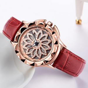 Image 5 - MEGIR Luxury Women Watches Fashion Rotated Dial Ladies Quartz Watch Red Leather Lovers Girl Wristwatches Clock Relogio Feminino