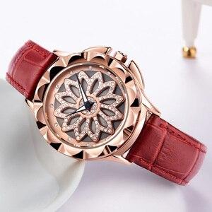 Image 5 - MEGIR relojes de lujo para mujer, con esfera giratoria, de cuarzo, de cuero rojo, femenino