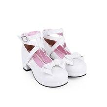 Angelic imprint/милые туфли на высоком каблуке в стиле Лолиты женские туфли-лодочки с круглым носком, бант из искусственной кожи Размеры 35-39, 9812