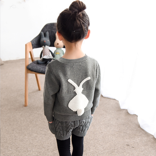 Hot Promotion Girl Winter Sweater 2016 Children 's Cute Rabbit Pullover Sweaters New Autumn Baby Girls Sweater Grey and White