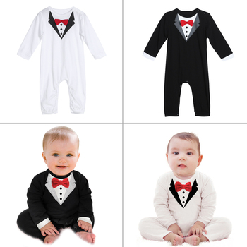 Toddler Handsome Baby Pompers Cool Boy Clothes Baby Long Sleeve Suit Infant Jumpsuit GentlemenBlack Bowknot Rompers Formal Suit 1