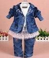 Nuevo 2015 baby girl denim que arropan el sistema 3 unids dril de algodón de la ropa de las muchachas atan la camiseta jeans para niños traje conjunto
