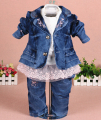 new 2015 baby girl denim clothing set 3pcs girls clothing denim clothing set girls lace t shirt kids jeans suit set