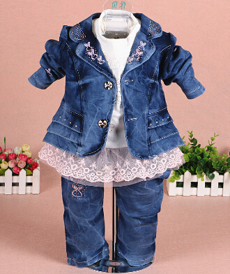 new baby girl denim clothing set 3pcs girls clothing denim clothing set girls lace t shirt kids jeans suit set baby fashion clothing kids girls cowboy suit children girls sports denimclothes letter denim jacket t shirt pants 3pcs set 4 13
