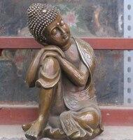 10 Тибетский Классический Бронзовый спящий Будда статуя Шакьямуни