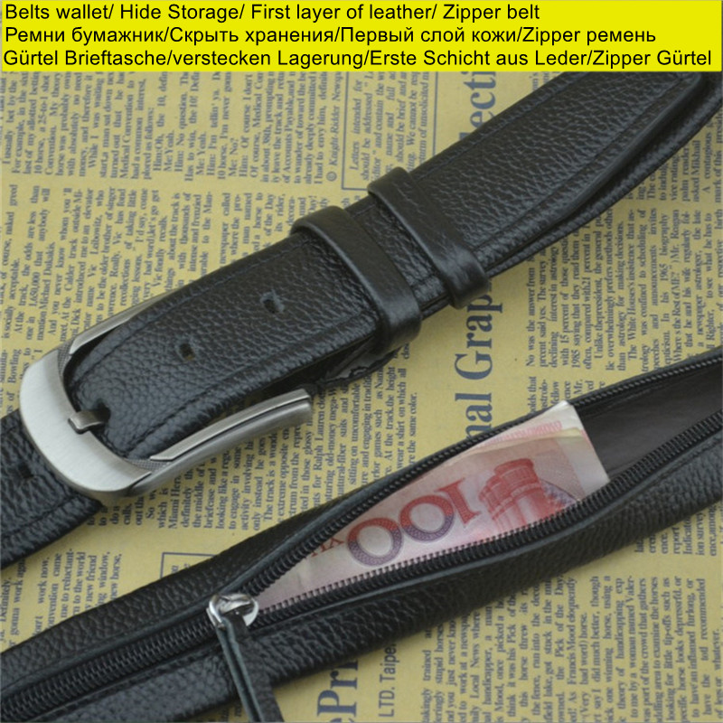 Genuine 100% cowhide men belt strap with hide money zipper pouch black full grain genuine leather belts with ratchet buckle