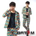 2015 Suits small suit male flowers slim patchwork casual suit set mem's singer costumes formal dress clothing