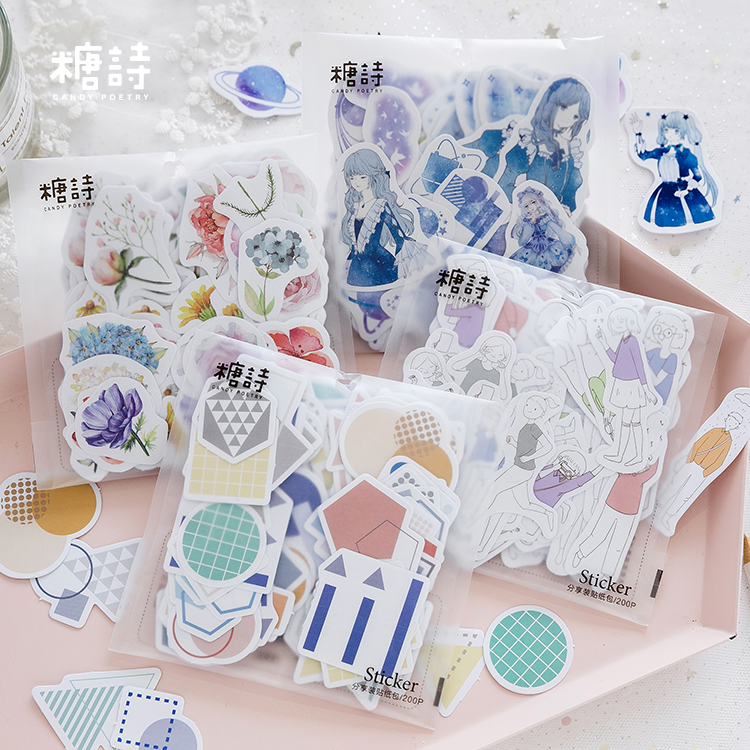 200pcs\ Adventure Dream A Variety Of Styles Creative Fun DIY Cute Sticker Package Album Diary Student Stationery Office Supplies