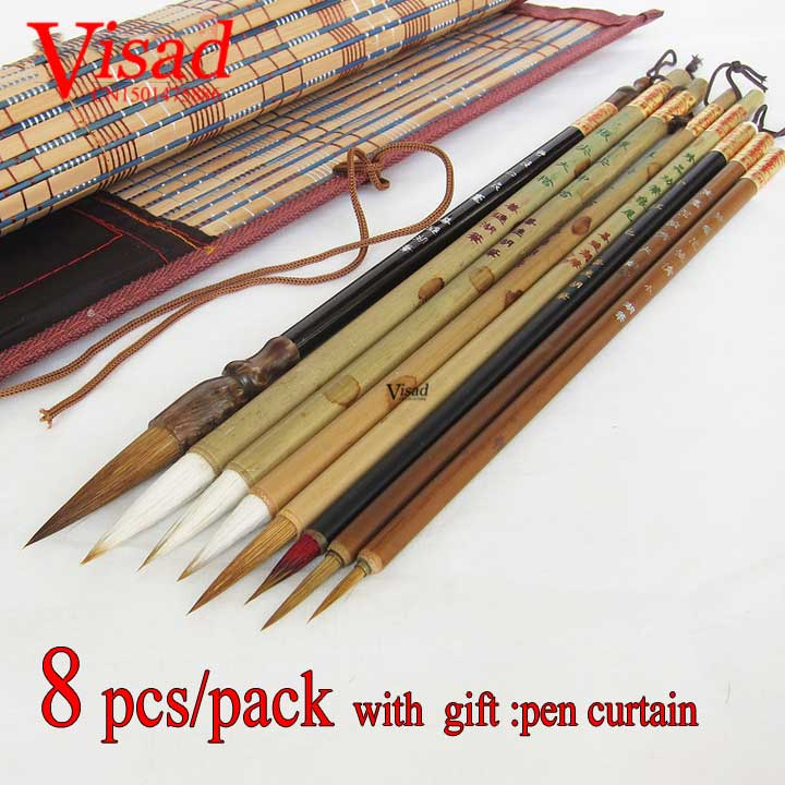 цены на 9 pcs/pack Chinese Brush Pen Architect Painting Supplies Watercolor Brush Pen Set Badger Brush bristle with pen curtain в интернет-магазинах