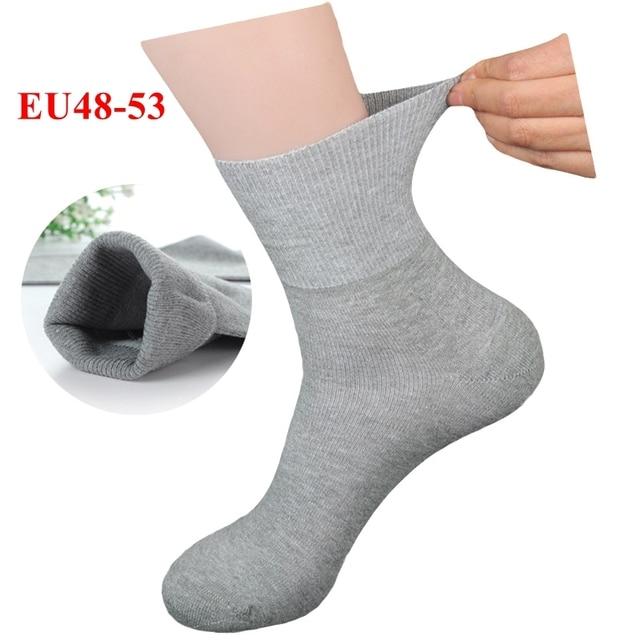 Plus Large Big Size Socks Man 48,49,50,51,52,53 Business Crew Socks 6 Pairs Classic Solid Comfortable Men Winter Socks