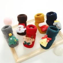 Новые хлопковые рождественские детские носки для малышей, Нескользящие кукольные носки для малышей
