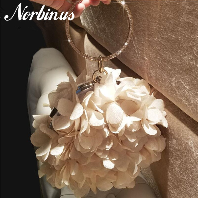 Norbinus Women Flowers Handbags Designer Diamond Ring Handle Bag Small Round Clutch Ladies Evening Party Shoulder Crossbody Bag esveva 2018 women boots high heels short plush buckle ankle boots square heels chunky pointed toe sexy fashion shoes size 34 39