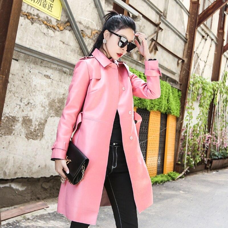Vêtements Coréen Peau De En Mouton Zt1568 Rose Coupe Veste Pink Automne Réel Femmes Cuir Véritable 2018 Tops Manteau vent Hiver ZOPiukX