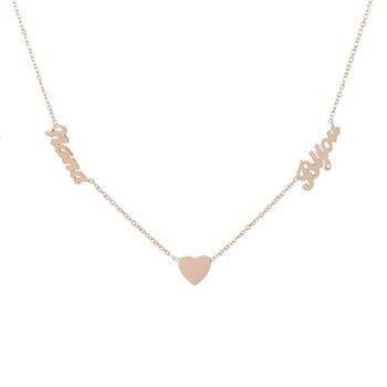 26e1a11b410b Color oro doble nombres corazón BFF Collar personalizado joyería  personalizada nombre Collar para las mujeres boda de BFF