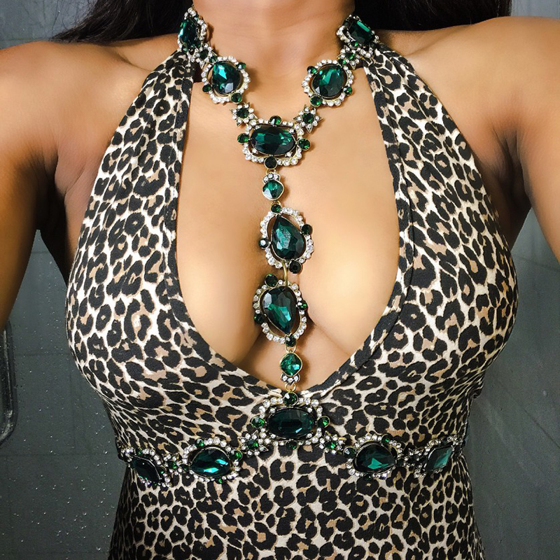 Dvacaman Brand 2017 Boho Style Green Crystal Jewelry Women Rhinestone Statement Necklace Femme Bijoux Party Birthday Gifts B17