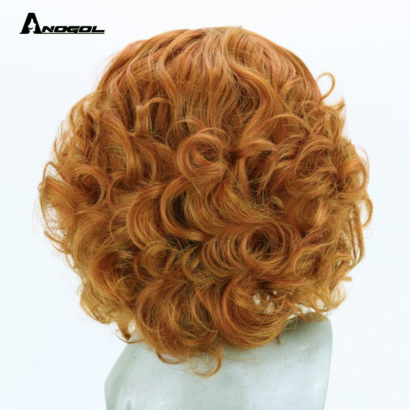 Image 3 - Anogol High Temperature Fiber Fire Blend Orange Short Body Wave Bob Wig Synthetic Lace Front Hair Wigs For Women With Free Part-in Synthetic None-Lace  Wigs from Hair Extensions & Wigs