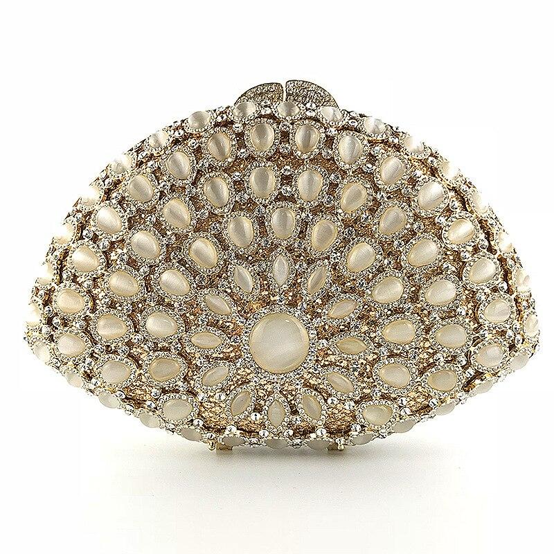 Éblouissante femmes diamant Floral sur cristal soirée métal embrayages petit sac à main sac à main boîte de mariage pochette de mariage sac à main de mariée