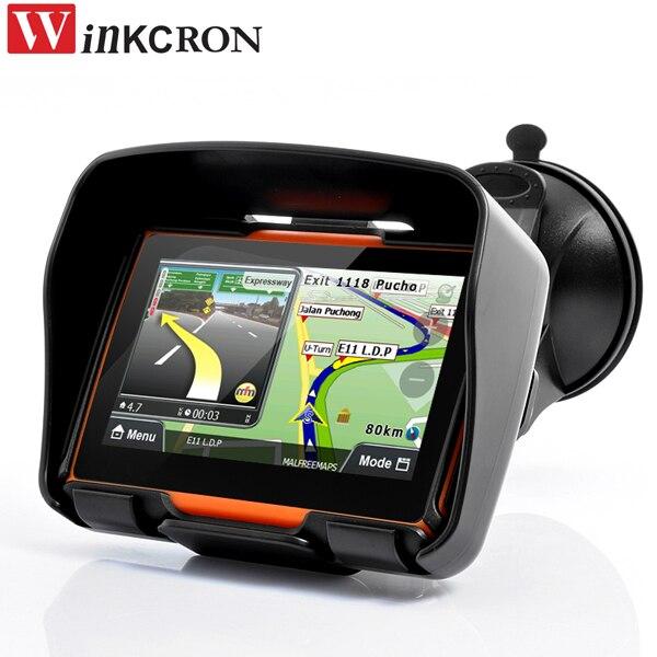 Best 4.3 GPS приборы для мотоциклов навигации автомобиля GPS IPX7 Водонепроницаемый Bluetooth автомобиля GPS навигатор собран в 8 ГБ Бесплатная 2017 Новый К...