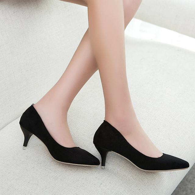 Plus Size 35-42 Spring Autumn Women Shoes Office lady Pumps Med Heels Boat Shoes Low heel Basic Pump Shallow dress Shoes CY2063