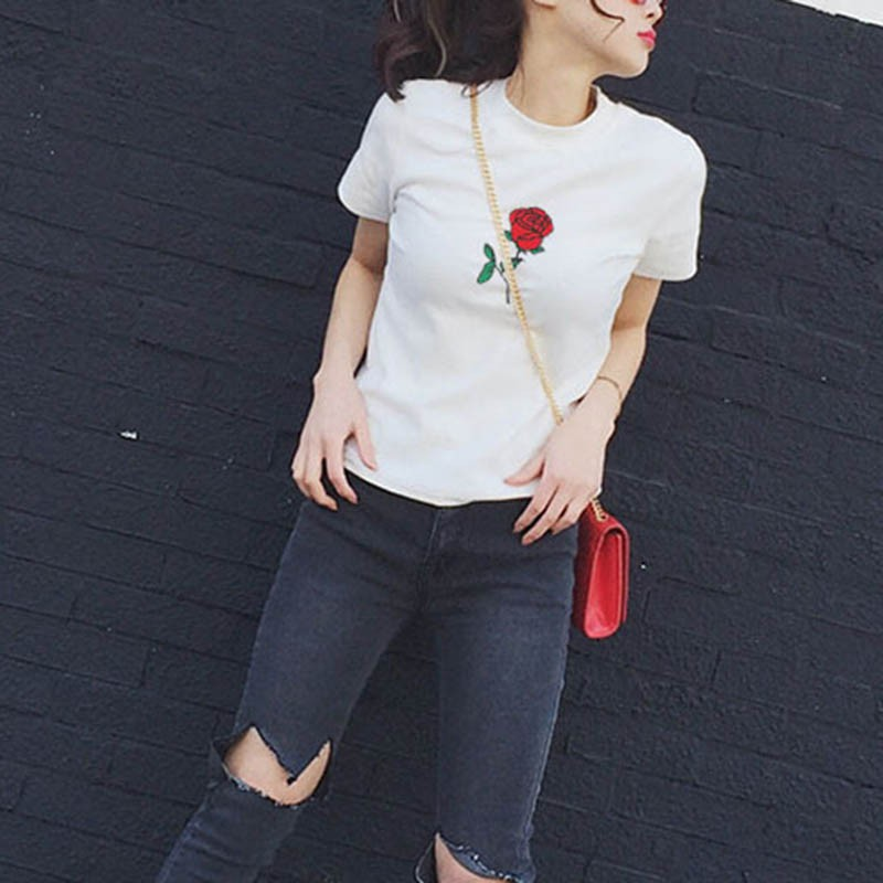 Women T Shirts Summer Embroidery Rose Short Sleeve O Neck Tee Shirt Tops Vetement Femme Camisetas Mujer 2017