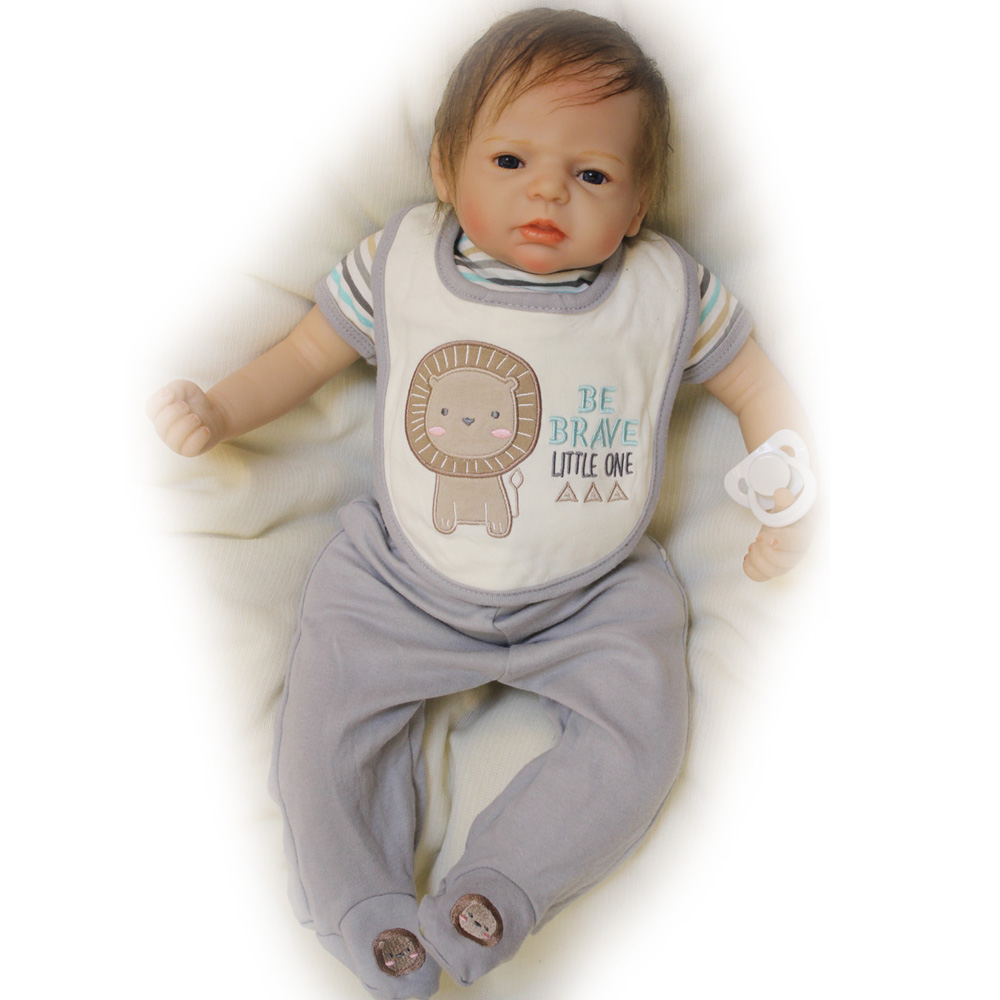 50-55CM Silicone Doll Reborn Baby Boy Lovely Handmade Cloth Body closed Eyes Dolls Toys Growth Partners Brinquedos Best  Gift partners lp cd