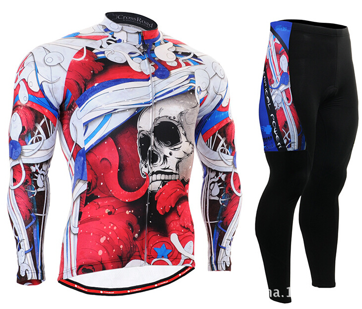 ФОТО Hot Sale Mens Skull Cycling Jerseys Sets Long Bike Clothings Breathable Mountain Bicycle Long Sleeve Cycling Cothing Red