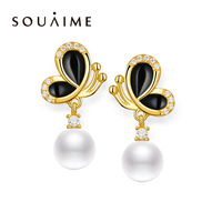 2018 Promotion New Arrival Party 100% Natural Freshwater Pearls Earrings Drop Butterfly 925 Sterling Jewelry For Women