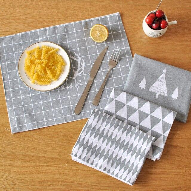 Лен Кухня место Коврики Посуда Pad Ткань обеденный стол, место Коврики coaster Кофе Чай размещены Коврики Европа серый Тип решетки дизайн
