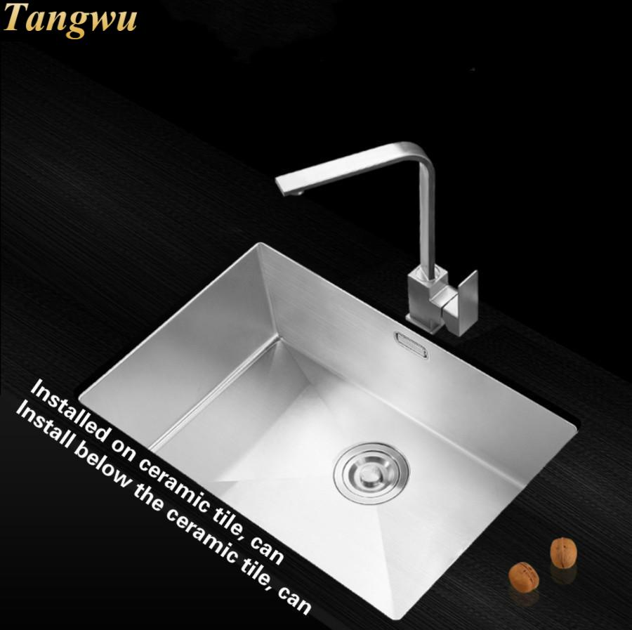 Hot Sell High Quality Manual Single Slot 304 Stainless Steel Kitchen Sink With Thick Plate 42x33/72x43x22 CM