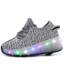 Детские колеса светодио дный светодиодные роликовые детские туфли модные мальчики и девочки спортивные ботинки дышащие детские кроссовки с лампочками
