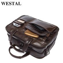 WESTAL Genuine Leather Men Bags Fashion Man Crossbody Shoulder Handbag Men Messenger Bags Male Briefcase Men's Travel Bag 8893