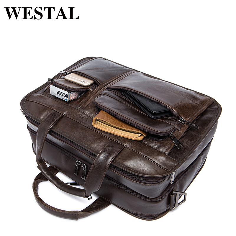 WESTAL Genuine Leather Men Bags Fashion Man Crossbody Shoulder Handbag Men Messenger Bags Male Briefcase Men's Travel Bag 8893 ms crazy horse genuine leather men bag men s leather bag men messenger bags shoulder crossbody bags man handbag briefcase tw2011