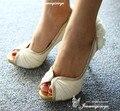 Manmitu-Envío libre Occidente Vogue faves de la Estrella Zapatos de Las Mujeres bombas mujeres sexy back flor de los altos talones del banquete de boda de novia sandalias