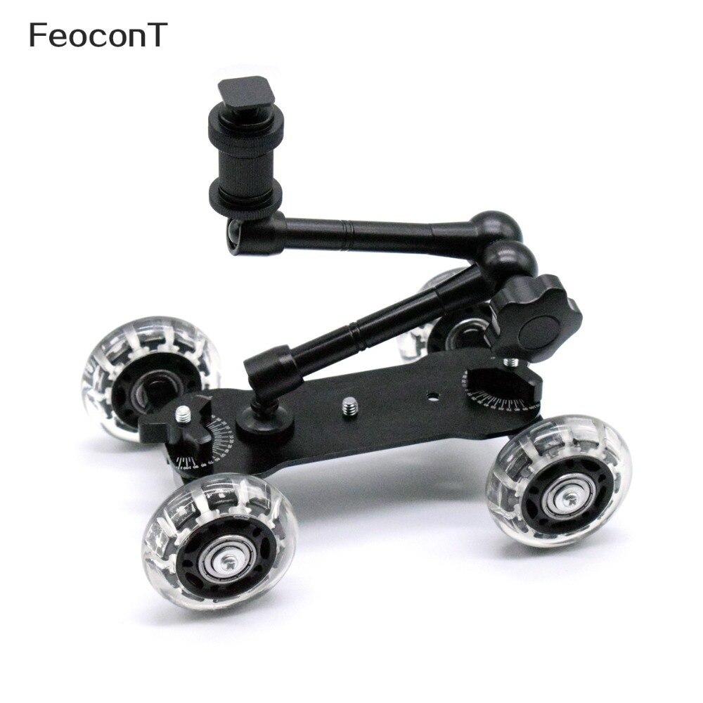Mobile Rolling Sliding Dolly Stabilizer Skater Slider + 11 Articulating Magic Arm for GoPro 7 6 4 3+ 3 2 1