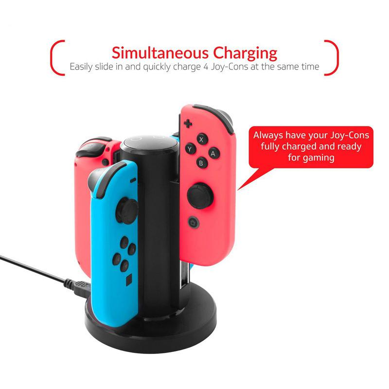HobbyLane 4 In 1 Charger Dock For NS Switch Joy-Con Controllers Handheld Game Console USB Charging Stand For Nintend Switch D20