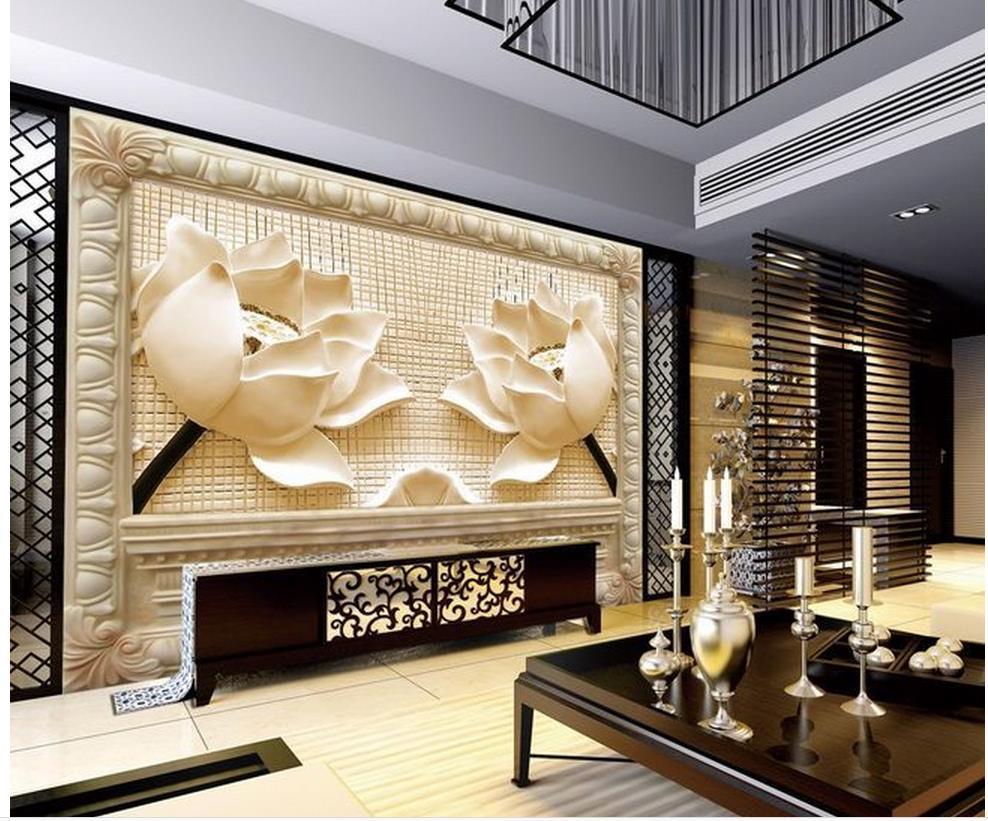 Fiori arenaria tv rilievo sfondo dipinti murali photo wallpaper per pareti decorazione della - Dipinti murali per interni ...