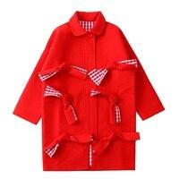 جودة عالية الشتاء النساء الصوف معطف أحمر منقوشة بطانة العنق يصل التصحيح السيدات الحلو سبنج الأحمر طويل أبلى معطف صوف يمزج