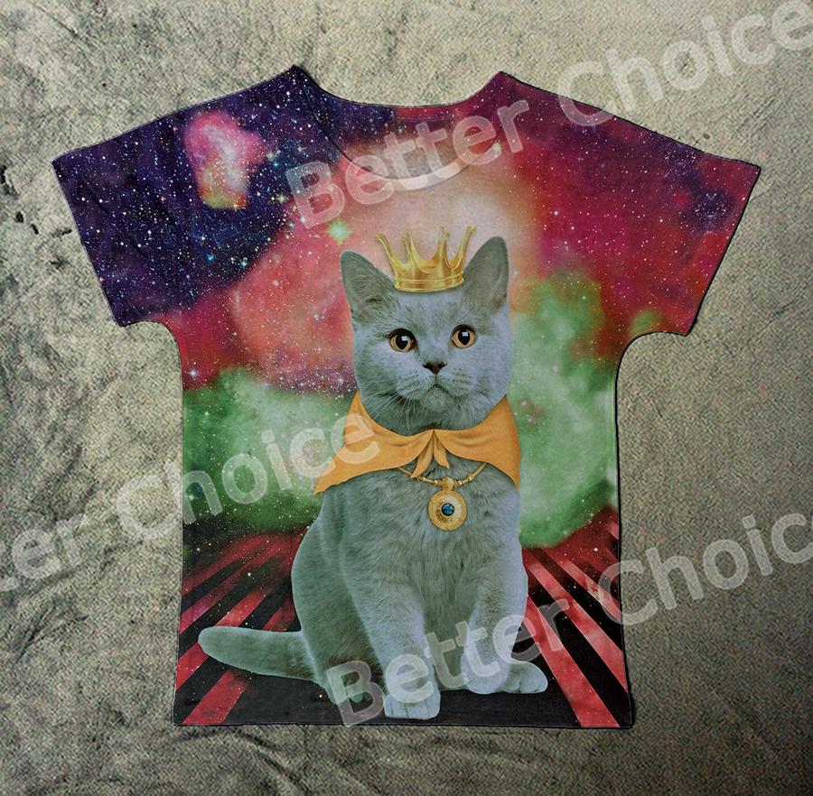 трек корабль + новые старинные ретро рок & ролл панк футболка топ ти король кот принцесса корона космос голубое небо с Print 0074