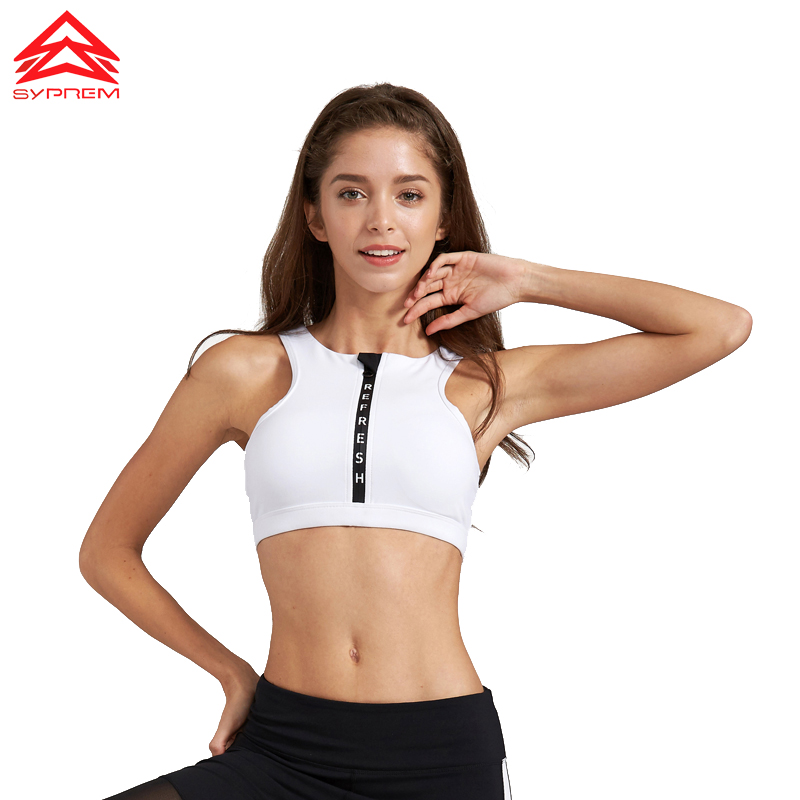 SYPREM 2017 Spring Fitness Sports Bra letter zipper yoga bra push up Full wrap-around sportswear sports bra ,1FT1052 active letter print u neck sports bra and pants twinset for women