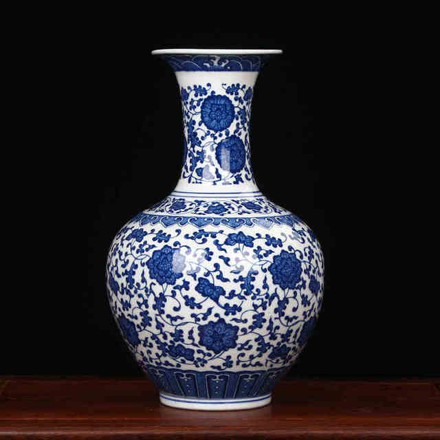 Jingdezhen Porcelain Vase Chinese Ceramic China Flower Pot Modern Crafts Blue And White