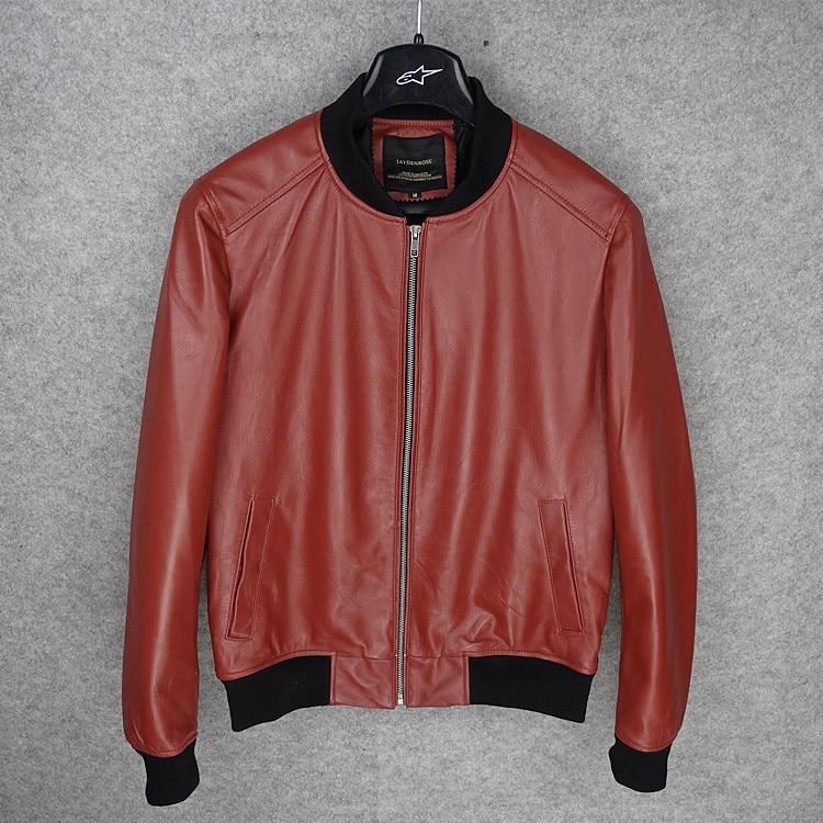 Branded New 2017 Man's Genuine Leather Jacket Slim Fit Male Sheepskin Coat Short Design Red Plus Size 2XL 3XL 4XL 5XL XXXXXL
